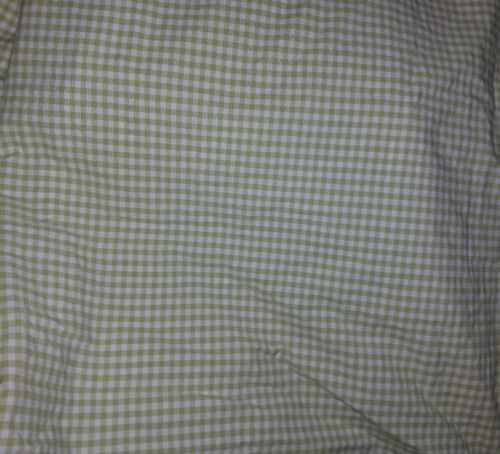 2pc Set Pottery Barn Kids Green White Gingham Plaid Cotton Full Flat Sheet EUC