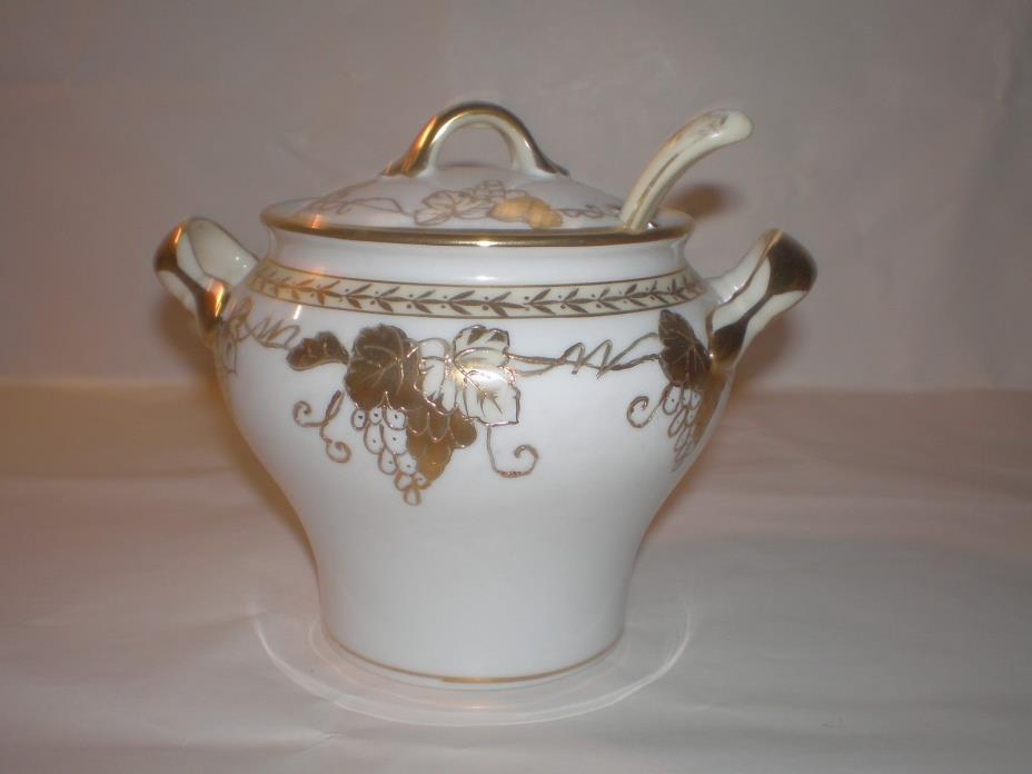 ANTIQUE HAND-PAINTED NIPPON RAISED GOLD-TRIM SUGAR BOWL WITH LADLE