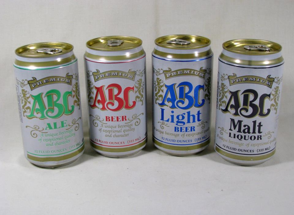 4 different ABC cans - ABC Brewing, Auburndale, FL - B/O