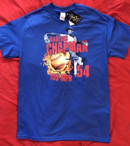 NEW With Tags Aroldis Chapman Chicago Cubs Blue T-shirt 105 MPH. Men's Size M