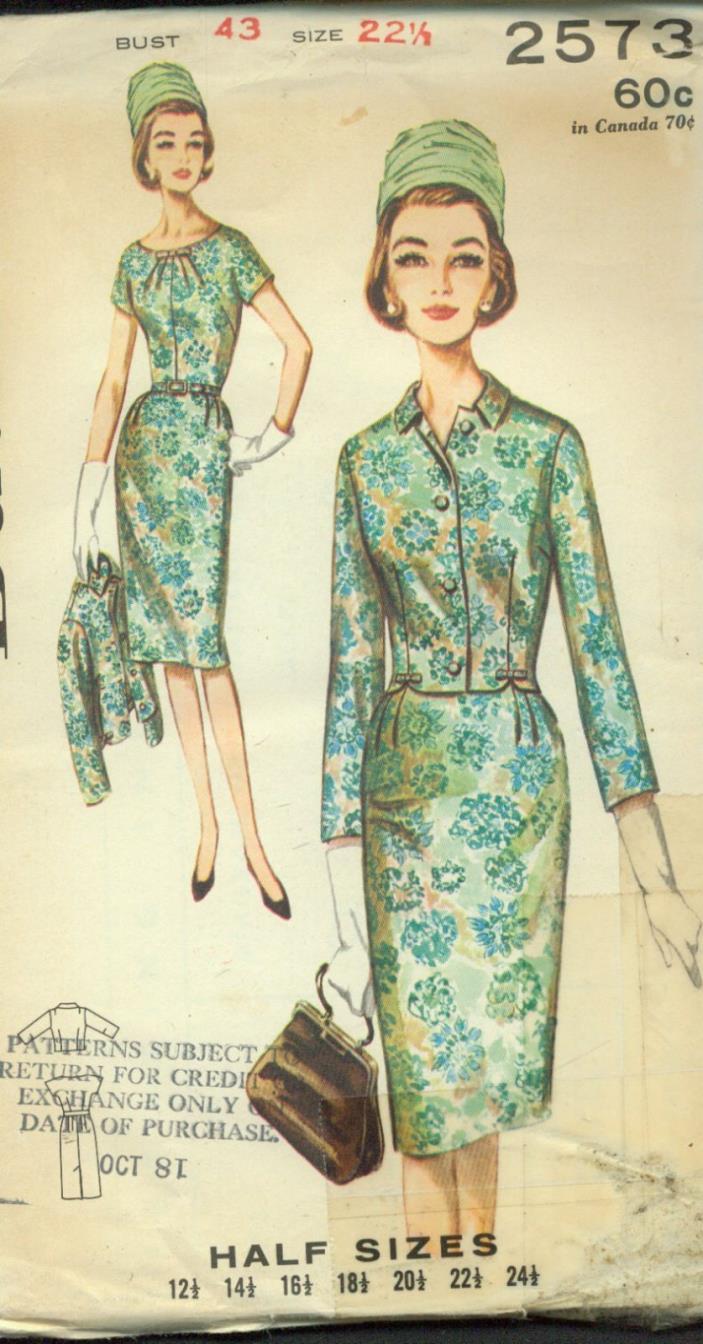 HALF sz 22.5(BUST 43)2-PC.PENCIL SKIRT DRESS&JACKET VINTAGE IN VOGUE PATTERN'50