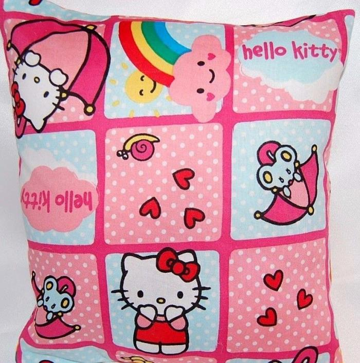 NEW  HANDMADE HELLO KITTY WITH RAINBOWS HEARTS SUNSHINE  TODDLER/TRAVEL PILLOW