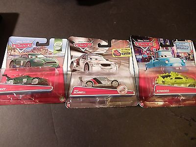 Lot of 3 DISNEY PIXAR CARS - Komodo Nigel Gearsley and Max Schnell (Silver)