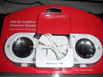 New  Fold-Up Amplified Aluminum Speaker ipod, mp3 mp4 cd player, computer