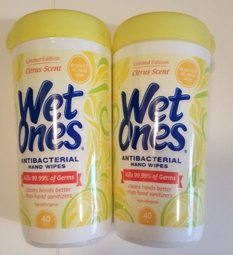 2 Pack Limited Edition Citrus Scent WET ONES Antibacterial Wipes 80 Wipes Total