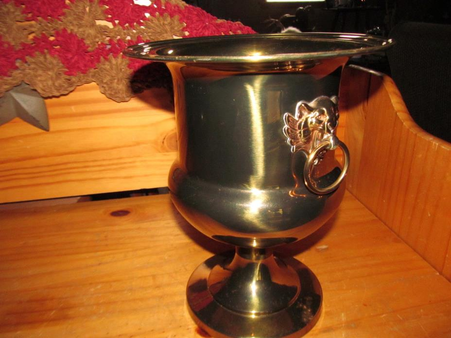 Vintage Brass Champagne / Wine Ice Bucket / Planter with Lion Head Handles