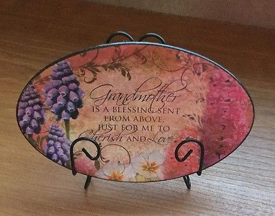 MOTHER'S GRANDMOTHER's DAY DECORATIVE PLATE w/STAND