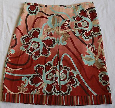 Ann Taylor Loft Petites A-Line Floral Cotton Front Kick Pleat Stretch Skirt 0P