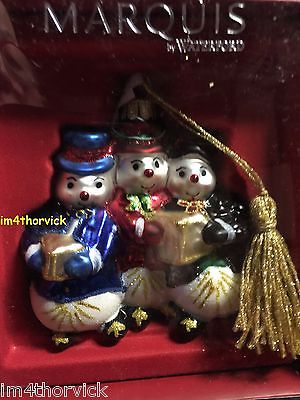 Waterford Marquis Glass Christmas Ornament Snowman Family NIB