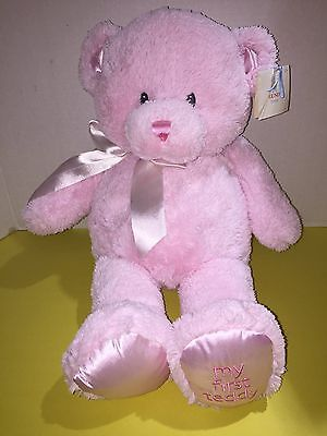 New Baby GUND MY FIRST TEDDY Large 18 inch PINK STUFFED PLUSH BEAR WITH TAGS