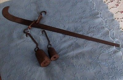 Early Antique Iron Balance Arm Farm Scale 2 Original Weights,Chatillon,NY, 41 In