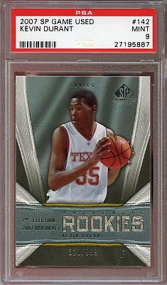 2007-08 sp game used #142 KEVIN DURANT golden state warriors rookie card PSA 9