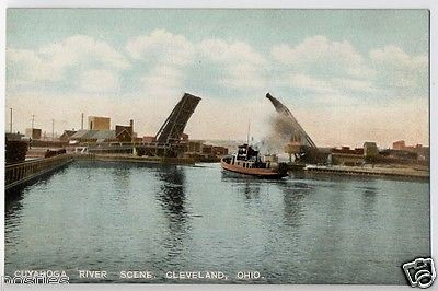 1900s Historic DRAWBRIDGE TUGBOAT Cleveland Ohio CUYAHOGA River OH Postcard