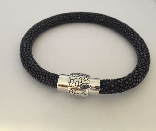ALAN K Bracelet Black Genuine stingray leather 925 Sterling Silver 7.75,8.75 Inc
