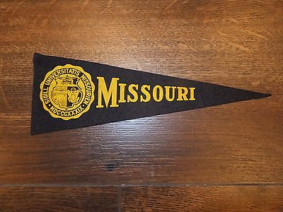 Vintage UNIVERSITY OF MISSOURI Felt Mini Pennant - Black / Gold, Approx 9.5x3.5