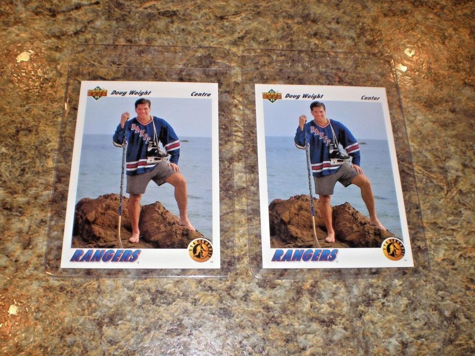 (2) Doug Weight 1991-92 Upper Deck Rookie card lot French & US Versions UD RC
