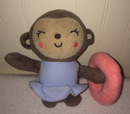 Baby Monkey Lovey Rattle Pink Circle Ring Blue Tutu Dress Brown Stuffed 6