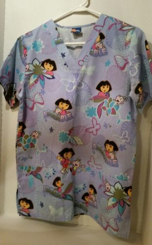 Dora the Explorer Medical Nurse XS Scrub Top Nick Jr Boots Adorable Butterfly SS