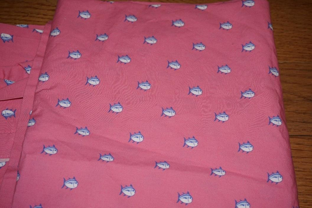 SOUTHERN TIDE SKIPJACK FISH PINK BLUE TWIN XL FLAT SHEET 100% COTTON 69