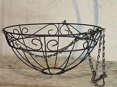 Hanging Basket/Black/Metal/Scroll/Flower Pot/Planter/Chain/Garden/Cottage Chic