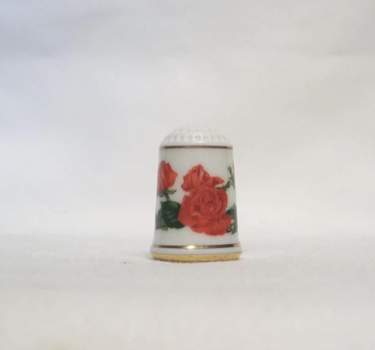 Franklin Royal National Rose Society Porcelain Thimble 1979  - FRAGRANT CLOUD