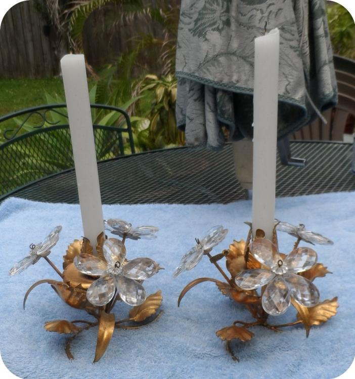 PAIR ITALIAN VINTAGE GILDED TOLE CANDLE HOLDERS WITH LEAVES & CRYSTAL FLOWERS