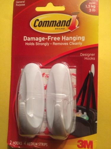 General Purpose Hooks, Designer, Holds 3lb, White, 2 Hooks & 4 Strips/Pack