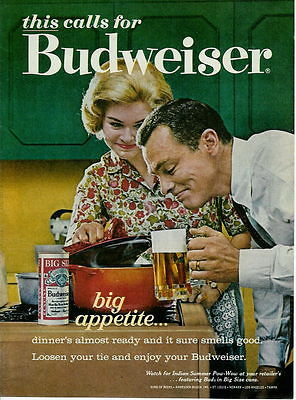 1963 BIG APPETITE AND A COLD BUDWEISER BEER AD