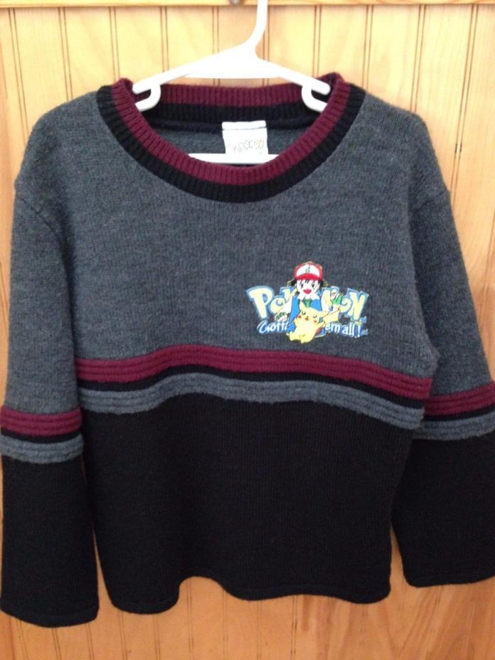 Boy's Vintage Pokemon Sweater Size 6-8 Black/Gray Long Sleeve