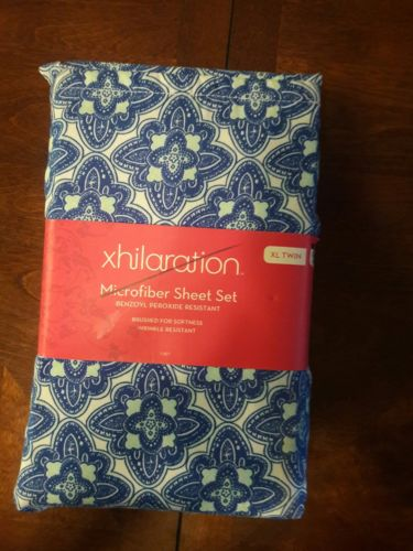 New xhilaration Microfiber 3 Piece Sheet Set TWIN XL Blue Flower