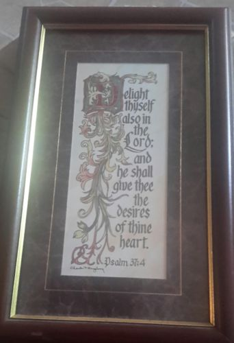 Wall plaque Psalm 37: 4, burgundy, 13  1/2  ×  8   1/2, Home Interiors REDUCED!