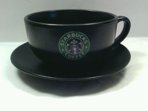 2008 STARBUCKS BROWN MERMAID LOGO PIKE PLACE COFFEE CUP Mug SAUCER 10 oz