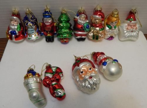 "12 Pc 3"" Christmas Characters Glass Ornament Set"