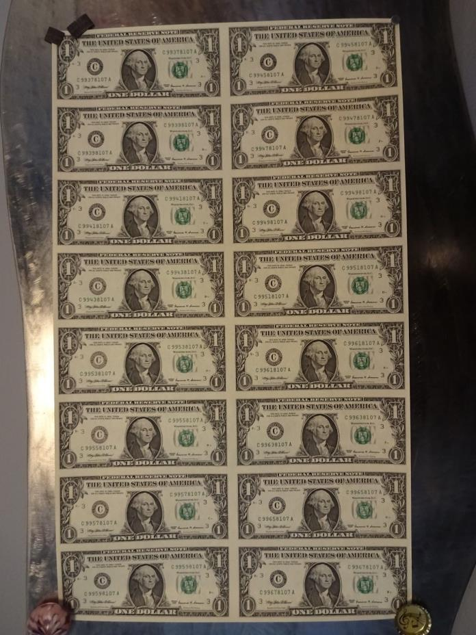 1999 Uncut $1 Sheet Of 16 Dollar Bills Philadelphia Mint With Info Sheet