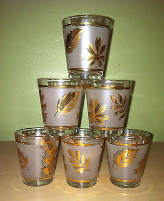Vintage 50s Starlyte Design Set 6 Shot Glasses Gold Leaf Barware VGUC
