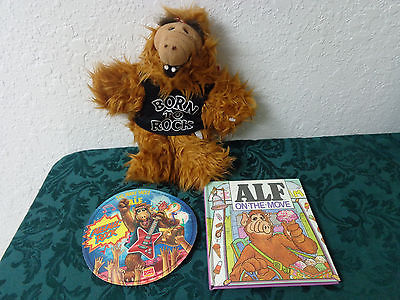ALF Hand Puppet Born to Rock Plush Stuffed Toy Burger King 1988 record & book