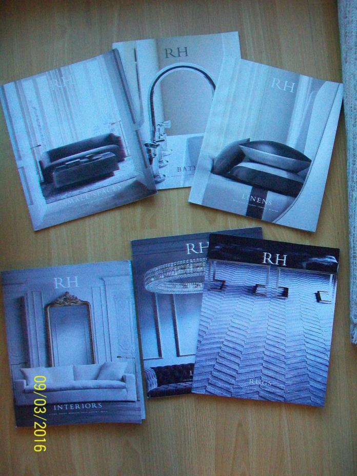 LOT of 6 catalogs 2015 RH bath,linens,lighting,rugs,interiors,small spaces