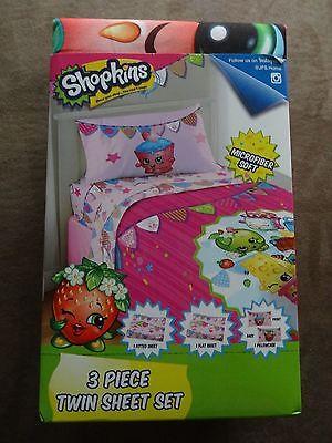 Shopkins Microfiber Soft Twin Sheet Set-3 Piece Set-Free Shipping-New