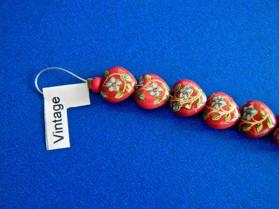 10 Vintage Red Heart Beads with Flowers 3/8