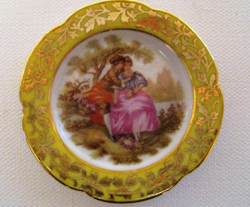 mint vintage Limoges miniature mini porcelain gold trim rare plate lovers 3