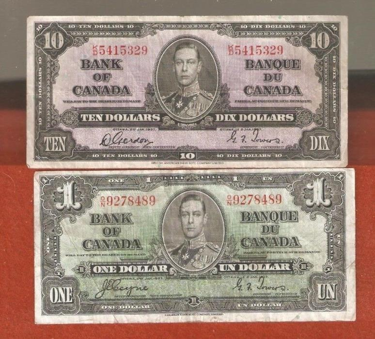 1937 King George VI One & Ten Dollar Bank Notes Nice Collectable Bank Notes L437