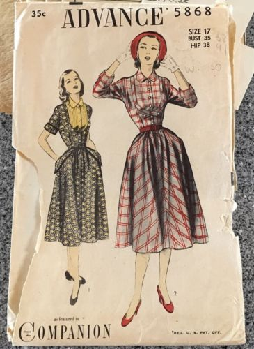 Vintage Advance Full Skirted Dress Sewing Pattern sz 17/35 Easy Printed #5868