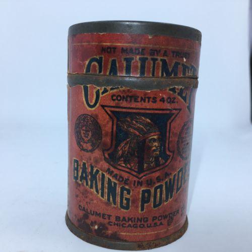 Vintage Antique Calumet Baking Powder Tin Jar Advertising