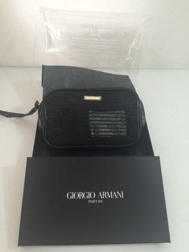 Giorgio Armani Parfums Cosmetic Makeup Case Pouch Bag Purse Clutch in Black NIB