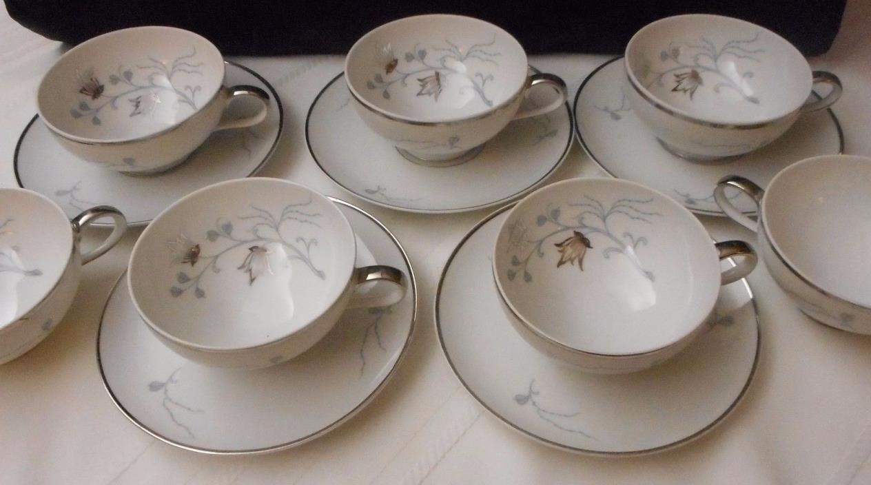 5 Eschenbach Baronet Silver Arbor Cup and Saucer Sets