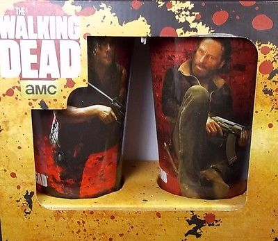 NEW AMC THE WALKING DEAD DARYL RICK PINT 2 GLASS SET 16 OZ COOL RED TINT RARE
