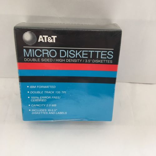 10 Pack AT&T 3.5 Diskettes 2.0 MB NEW Genuine Floppy Disks 2HD DS Blank Media