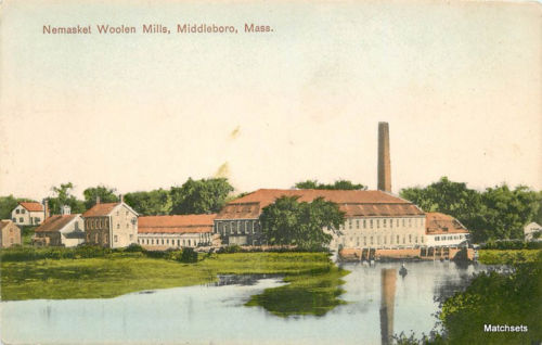 Hand Colored Factory Nemasket Woolen Mills MIDDLEBORO MA postcard 9750