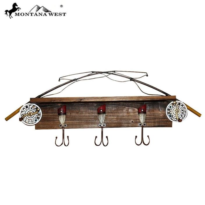 Montana West Fishing Rod Wood Coat Rack Western Home Decoration