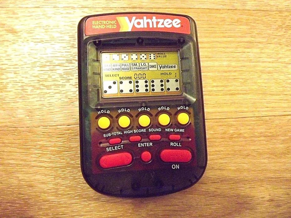 1995 Milton Bradley Yahtzee Electronic Hand-Held Game Clear-Smoke 4511